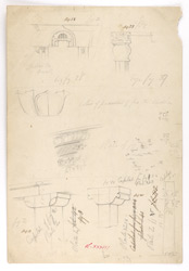 Studies of architectural details, Sanchi,  also on verso, including notes and measurements